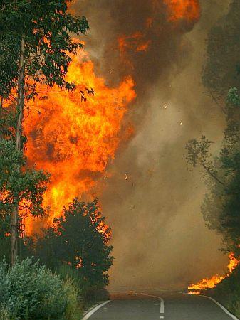 epa000509949 Flames cut off the road to the village of Casal de Sejaes, in Oliveira de Frades region, Viseu district, northern Portugal, Tuesday 23 August 2005. EPA/ESTELA SILVA