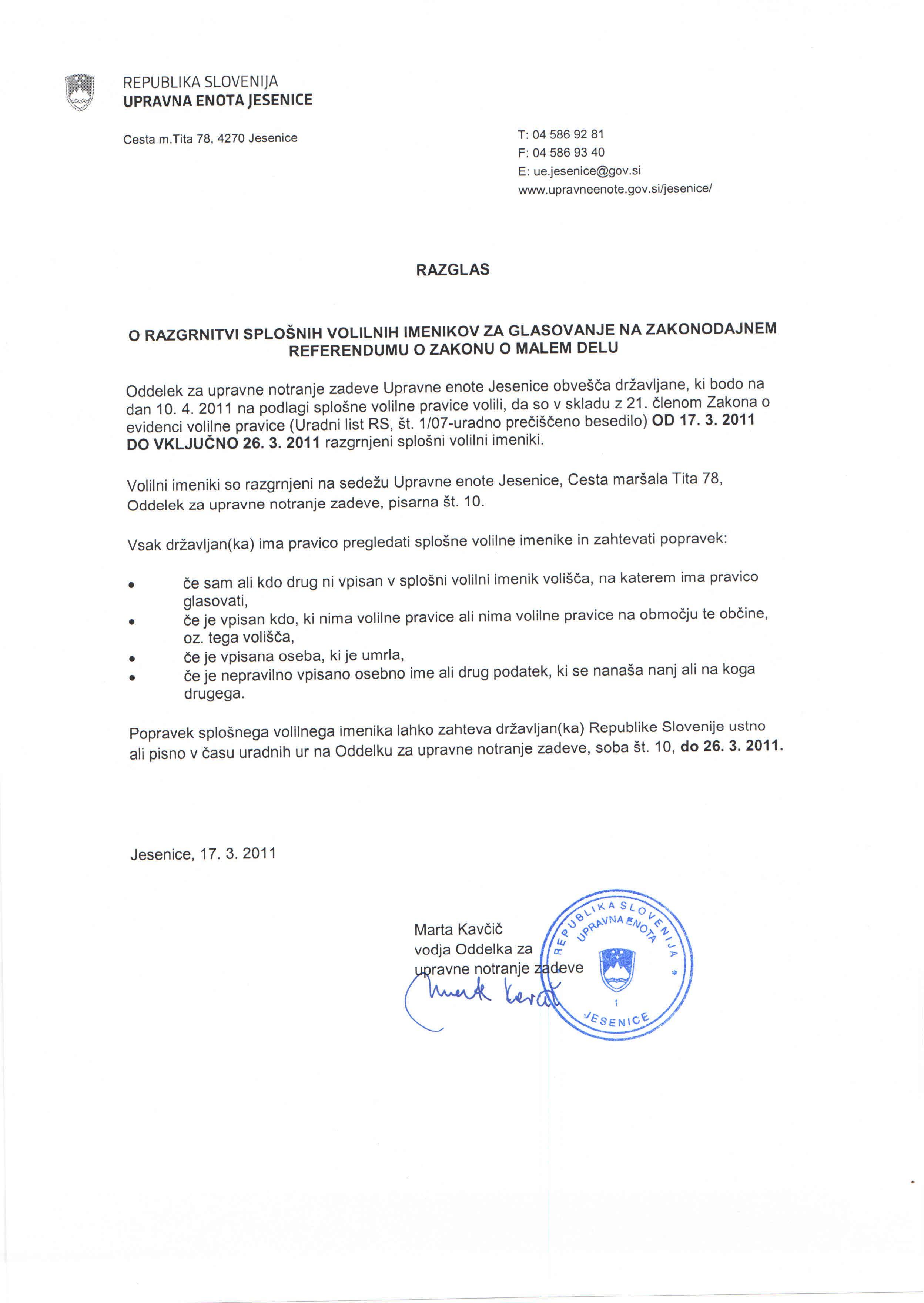 razglas o razgrnitvi splonih volilnih imenikov za glasovanje na zakonodajnem referendumu o Zakonu o malem delu