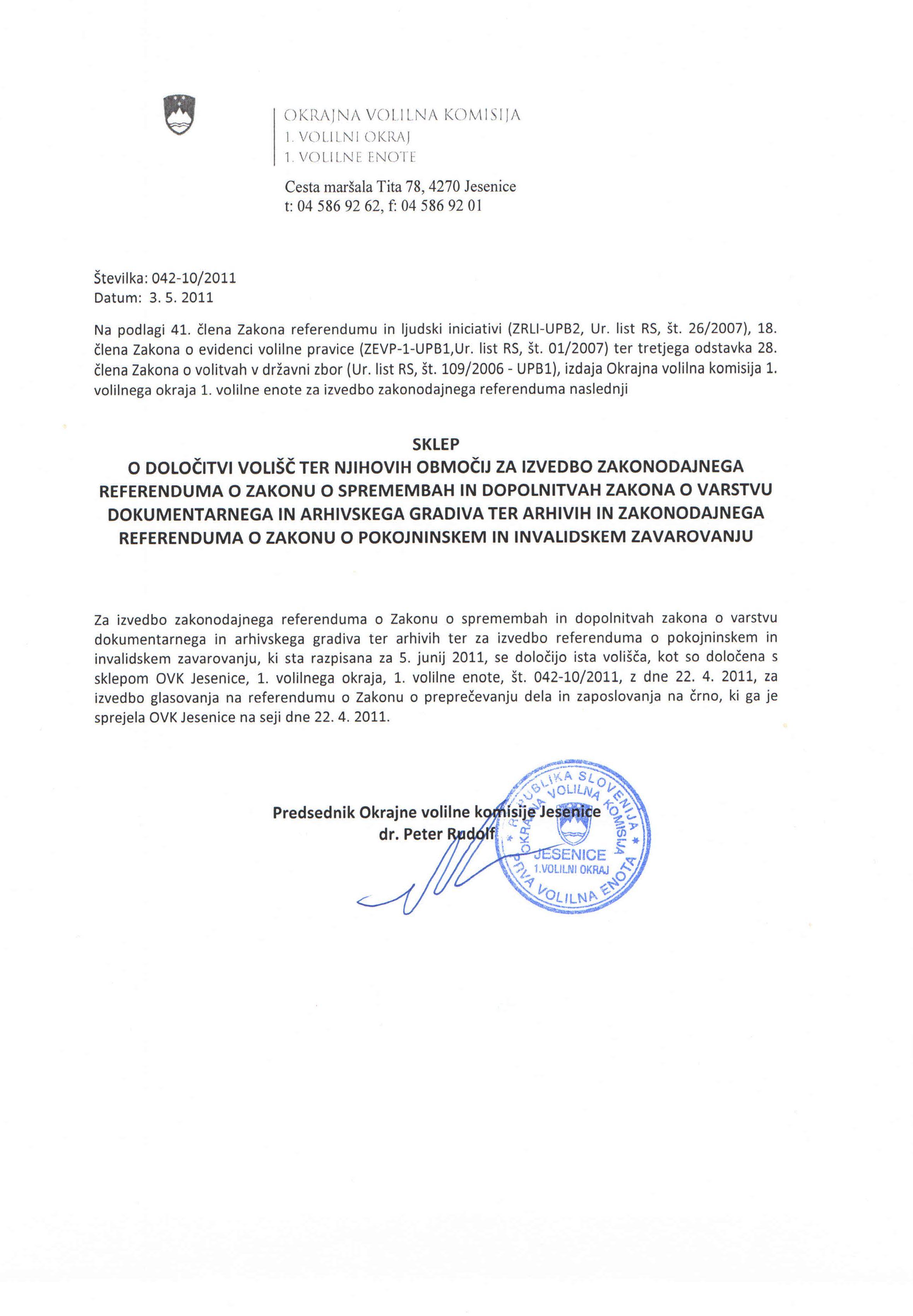 sklep o doloitvi voli -  3 referendumi 2011