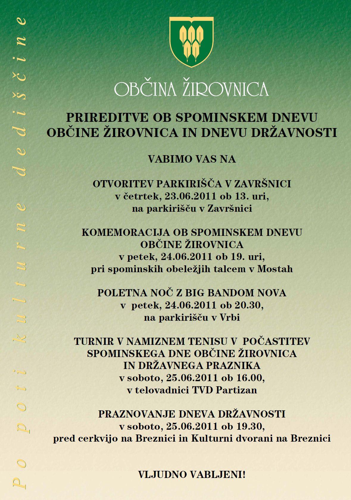 plakat  - prireditve ob Spominskem dnevu O in dnevu dravnosti