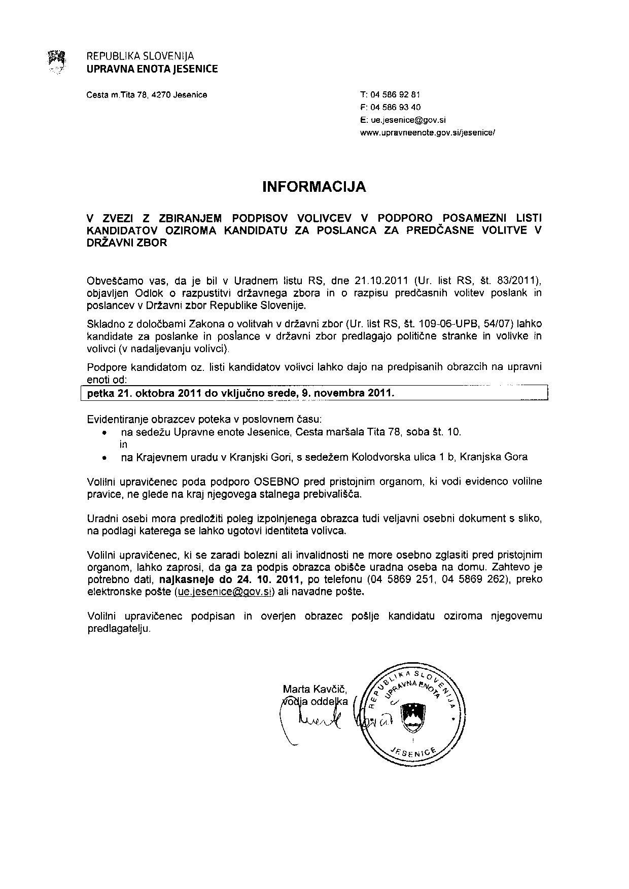 informacija za dravnozborske volitve 2011