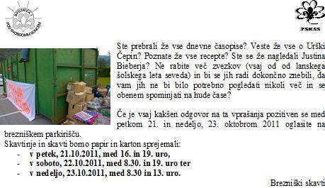 obvestilo skavti - papirna akcija