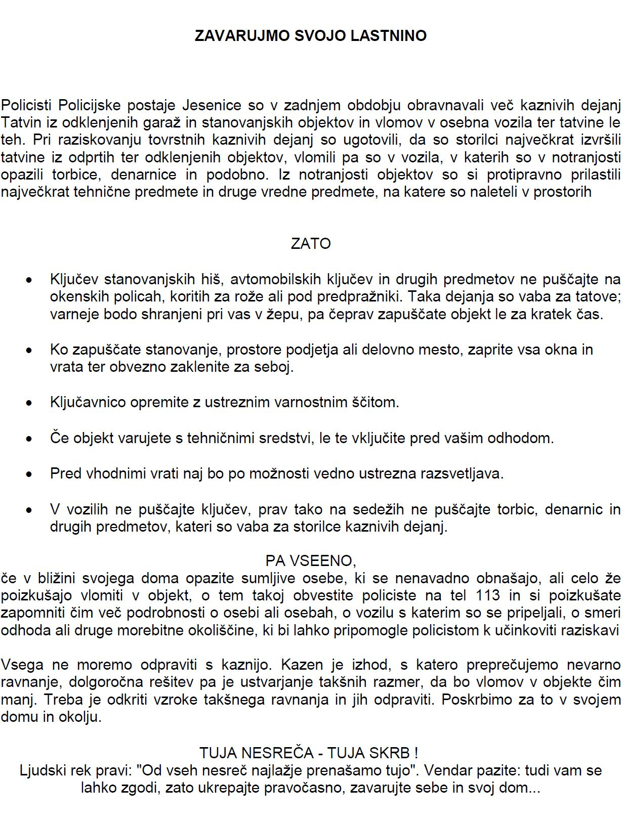 obvestilo pp jesenice