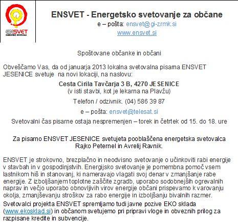 Ensvet - Energetsko svetovanje - Obvestilo o spremenjeni lokaciji