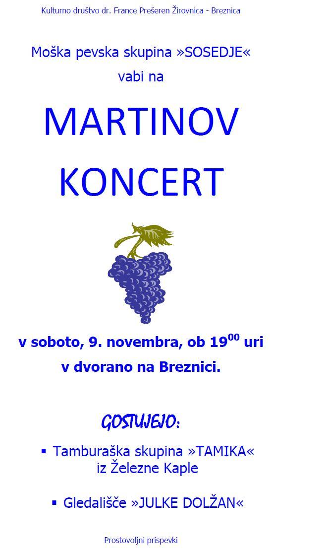 Vabilo na  Martinov koncert