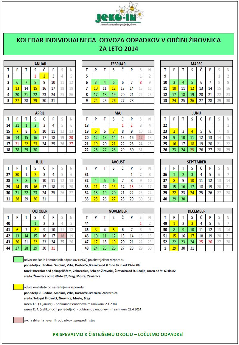koledar individualnega odvoza odpadkov v Obini irovnica za leto 2014