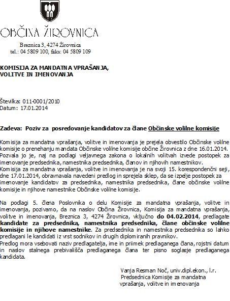 Poziv za posredovanje kandidatov za lane Obinske volilne komisije