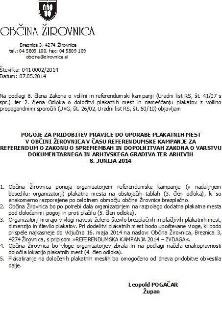 javni razpis za plakatna mesta - ZVDAGA
