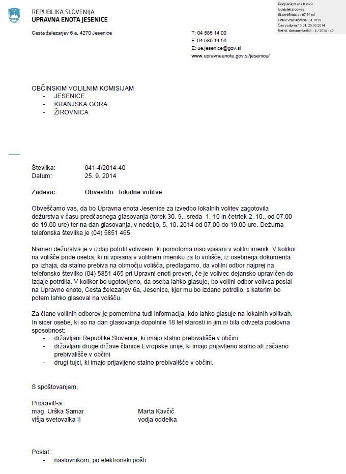 Obvestilo Upravne enote Jesenice glede zagotovljenega deurstva v asu predasnega glasovanja