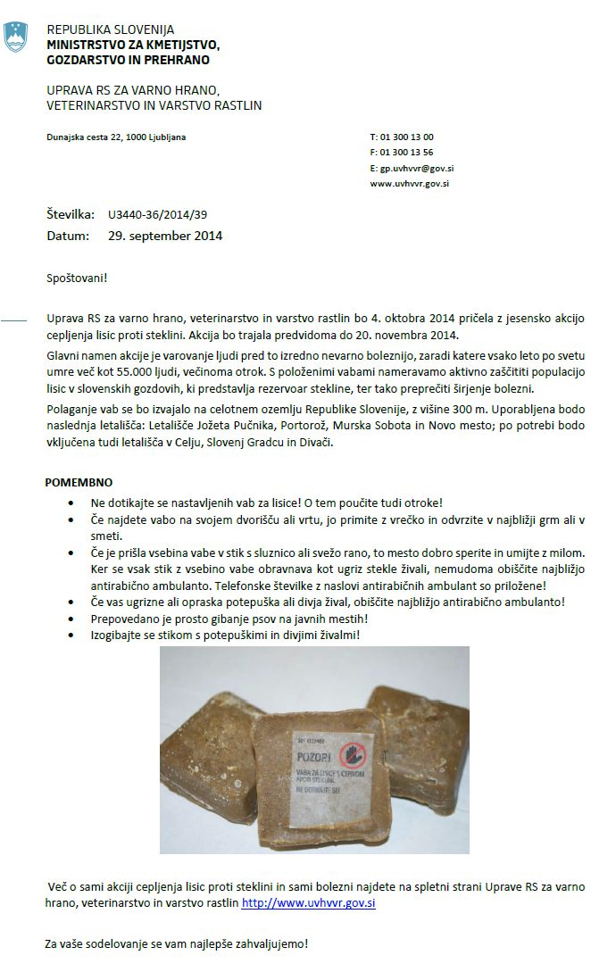 obvestilo o cepljenju lisic proti steklini