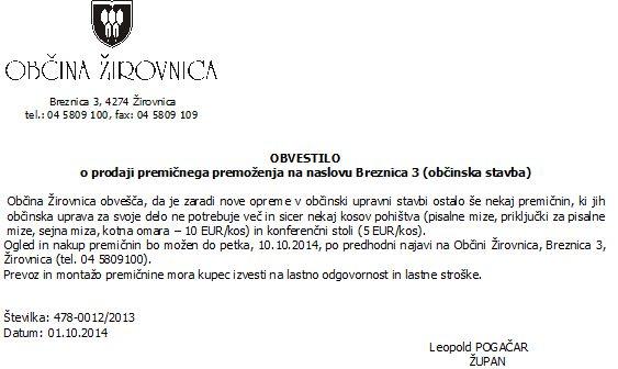 obvestilo  o prodaji preminega premoenja na naslovu Breznica 3