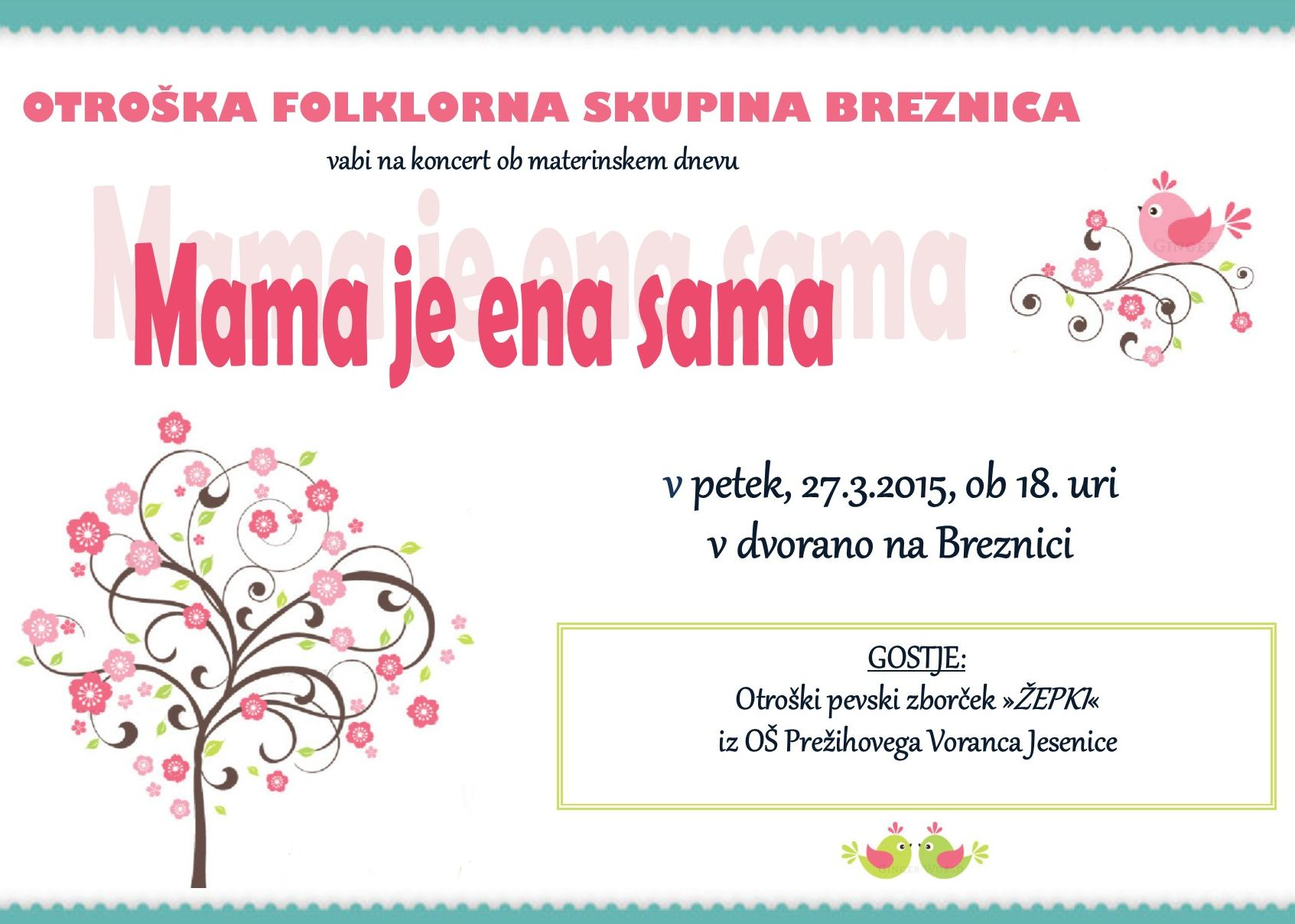 vabilo na koncert ob materinskem dnevu - Otroka folklorna skupina Breznica (1)