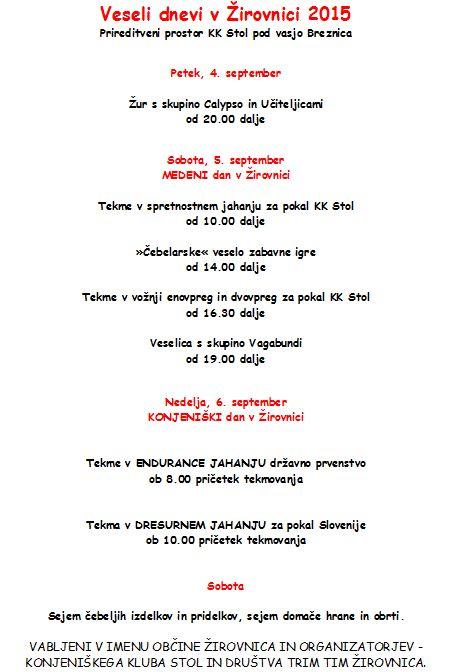 Program za Vesele dneve v irovnici 2015 (2)