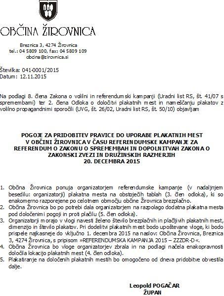 Pogoji za  pridobitev pravice do uporabe plakatnih mest  - Zakon o zakonski zvezi in druinskih razmerjih (1)
