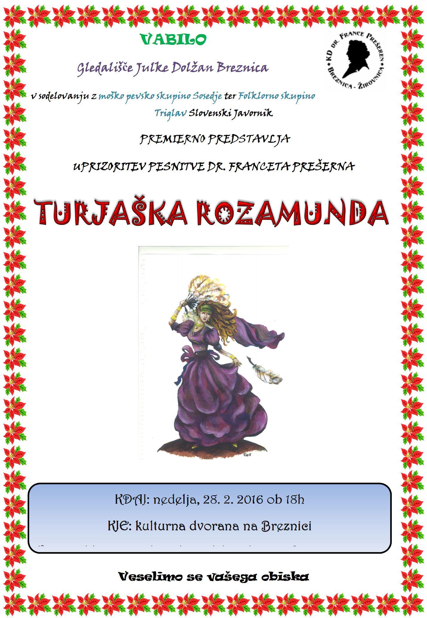 vabilo na premiero TURJAKA ROZAMUNDA